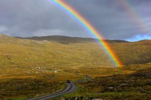 Rainbow on Road to Rhenigidale