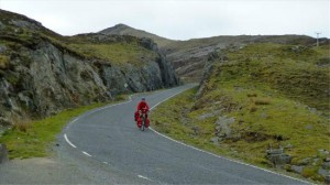 Cyclist on Rhenigidale Road