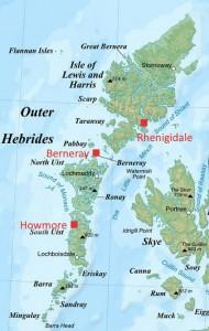 Outer Hebrides hostels map 2